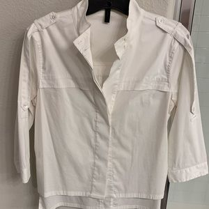 BCBG XS hi low button down top